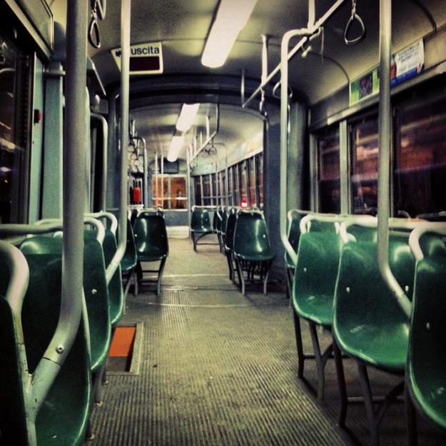 empty tram in Milan